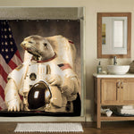 USA Cosmonaut Sloth Shower Curtain - Brown