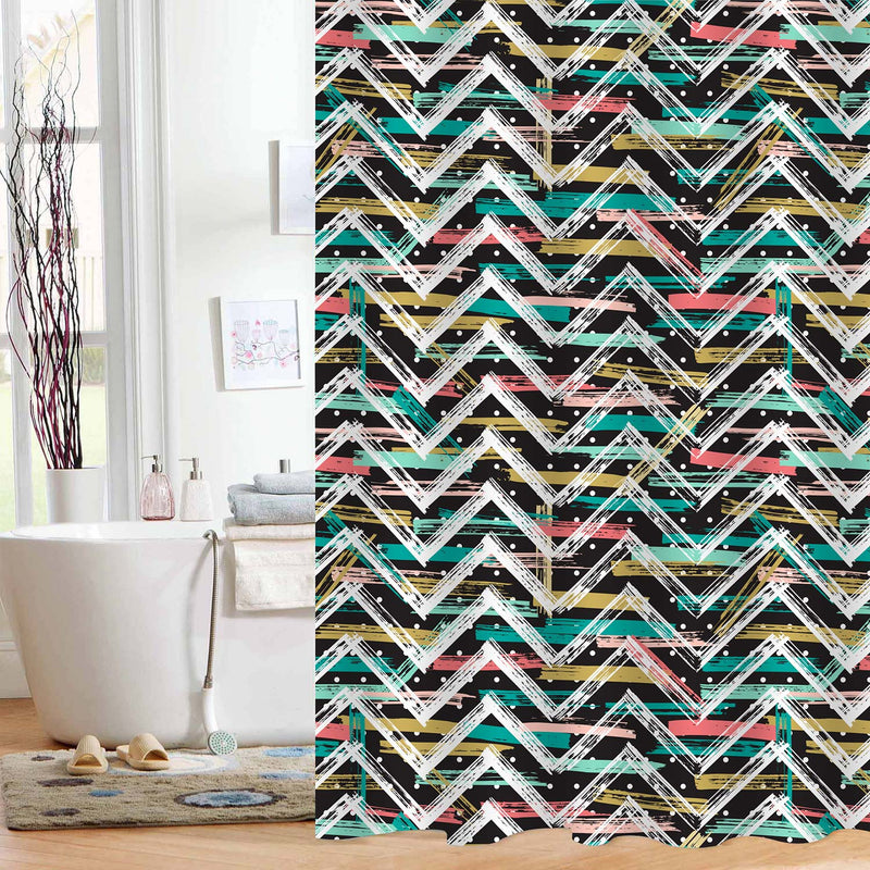 Abstract Chevron Shower Curtain - Multicolor