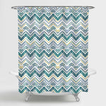 Aztec Chevron Shower Curtain - Green