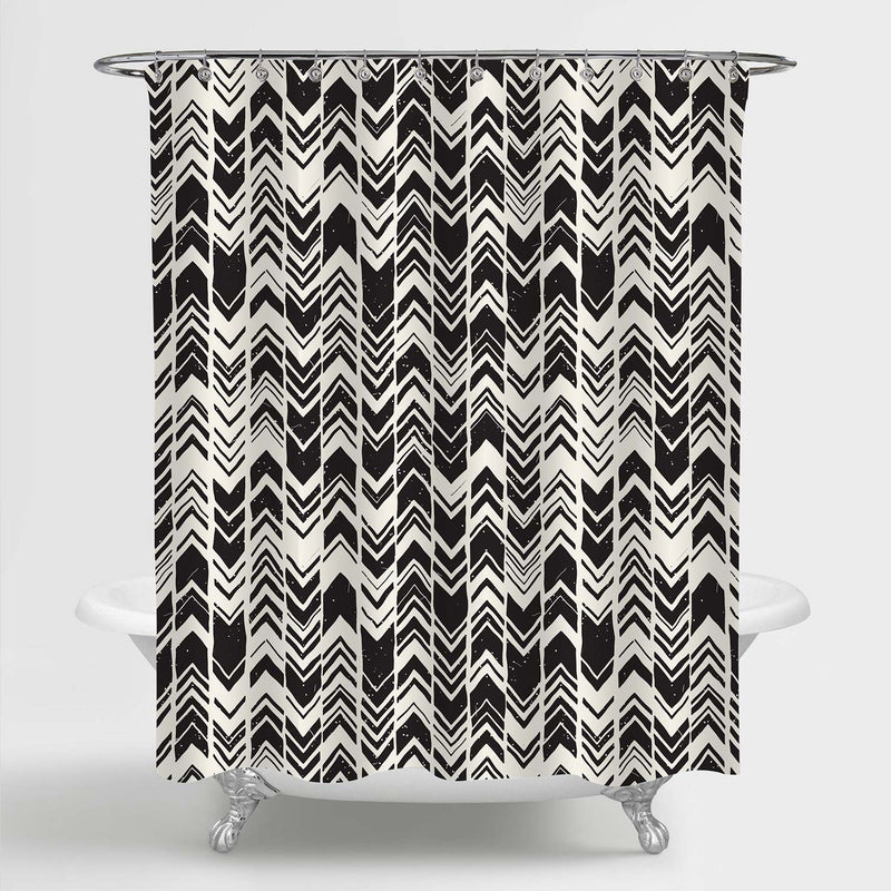 Zig Zag Shower Curtain - Black White
