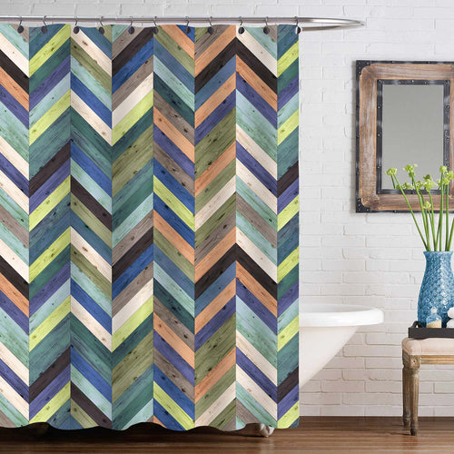Wood Parquet Texture Chevron Shower Curtain - Multicolor