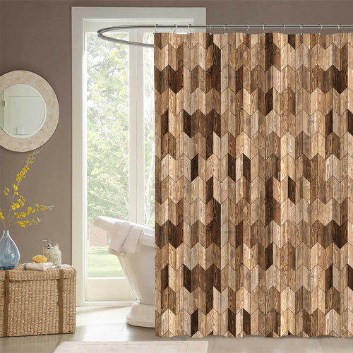 Wooden Floor Geometric Chevron Shower Curtain - Brown