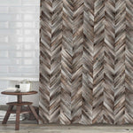 Natural Brown Wooden Chevron Shower Curtain - Dark Brown