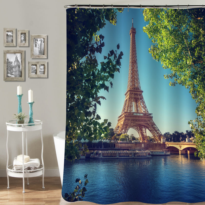 Paris Eiffel Tower Scenic Shower Curtain - Gold Green