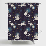 Cat Astronauts with Stars in Space Shower Curtain - Dark Blue