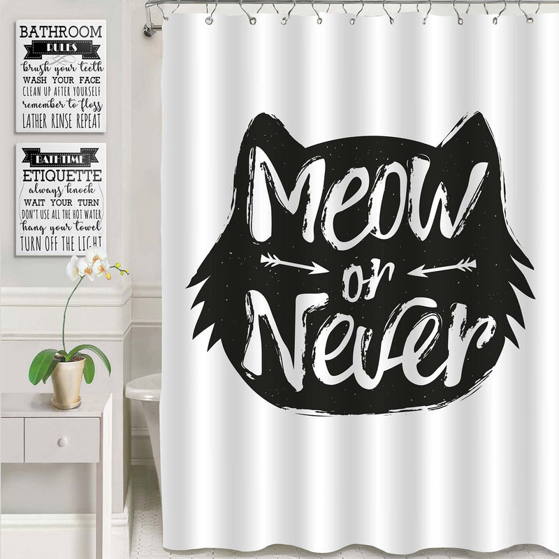 Hipster Cat Head with Positive Quote Shower Curtain - Black White