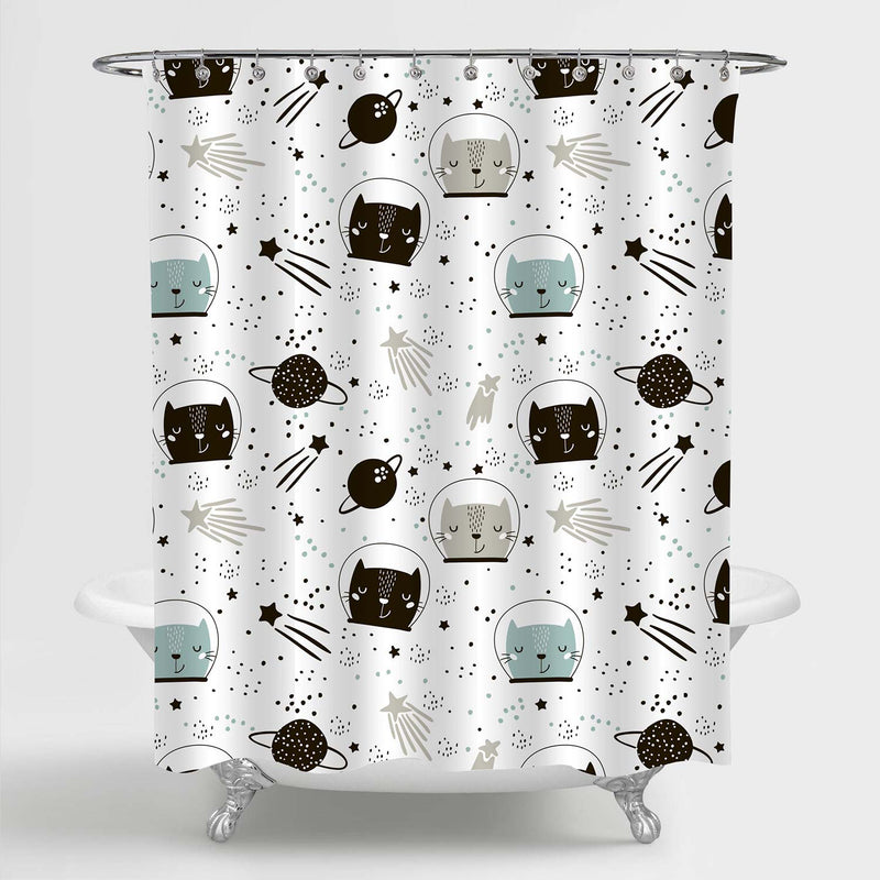 Silhouette Cartoon Cat Astronaut in Helmet Shower Curtain
