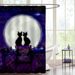 Couple Cats in the Night Looking on Moon Shower Curtain - Purple
