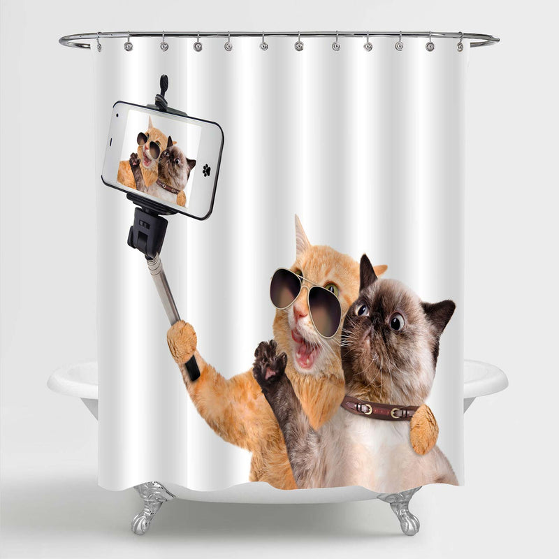 Two Cats Selfie Humorous Shower Curtain - Orange Brown