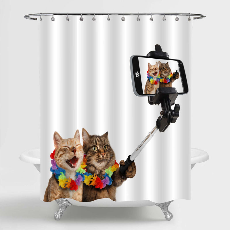 Cats Wearing Colorful Wreath Selfie Shower Curtain - Brown