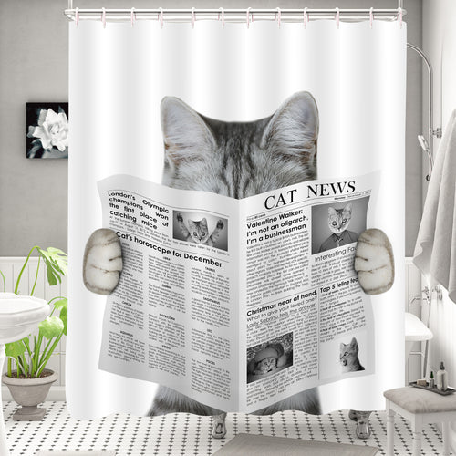 Cat Reading a Newspaper Shower Curtain - Grey