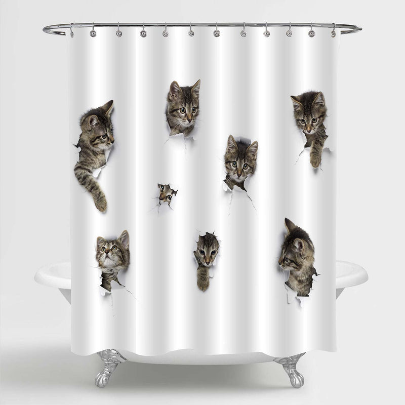 Cats Playing in Hole of White Paper Shower Curtain - Grey
