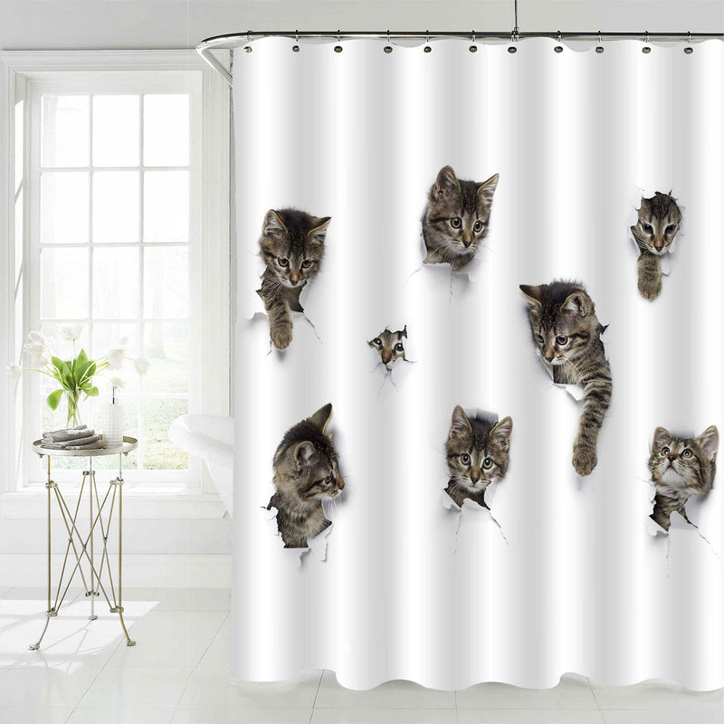 Cats Peeking Out of White Paper Shower Curtain - Grey
