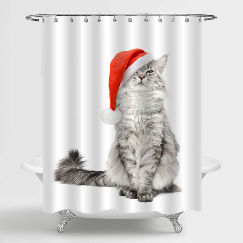Cat Wearing a Santa Hat Shower Curtain - Grey Red