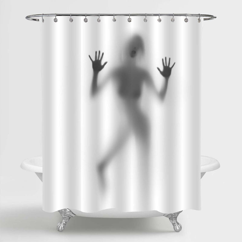 Sexy Woman Silhouette Blows Kiss Shower Curtain - Grey