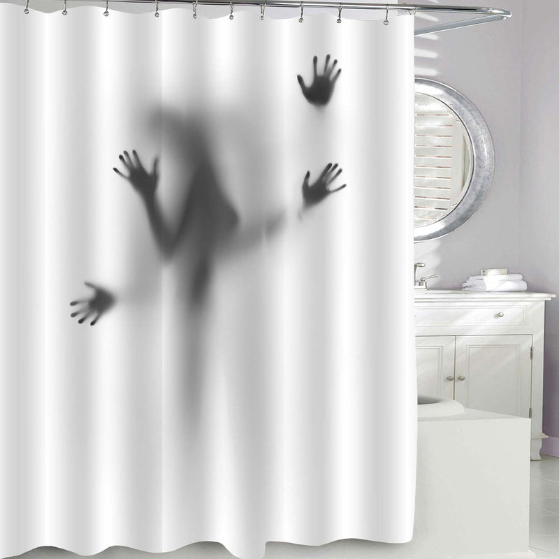 Couple in Love Silhouette Shower Curtain - Grey
