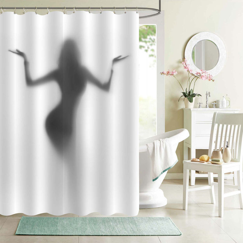 Dancer Lady Holds Her Hand Up Shower Curtain - Grey