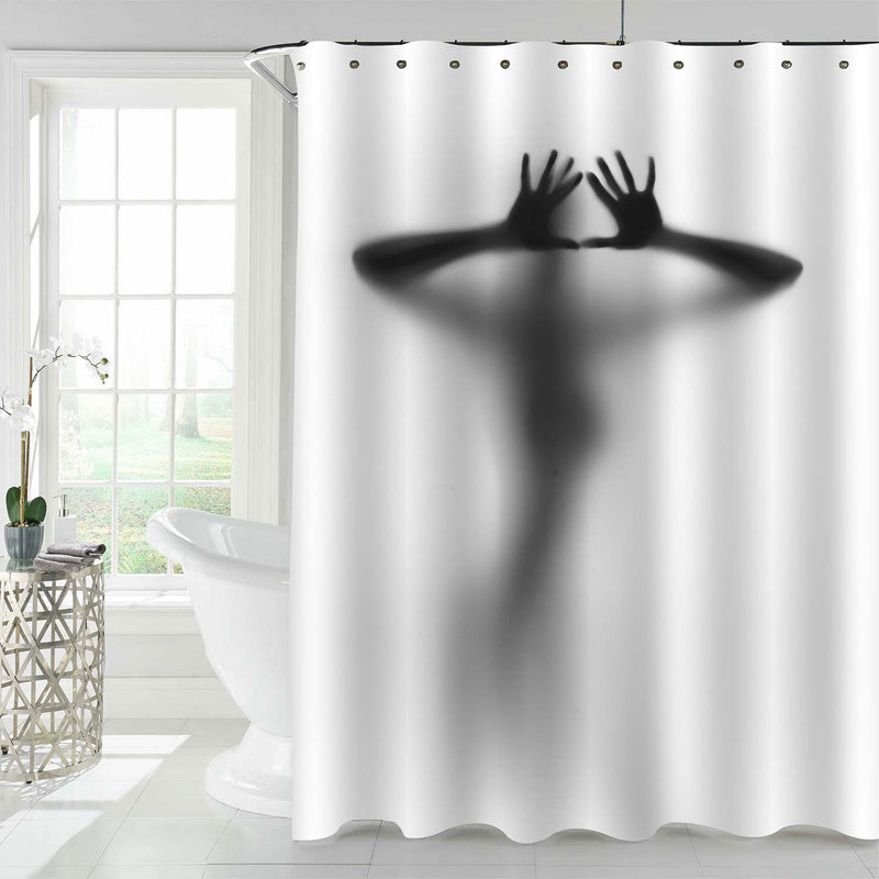 Diffuse Human Female Silhouette with Hands and Fingers Shower Curtain - Grey