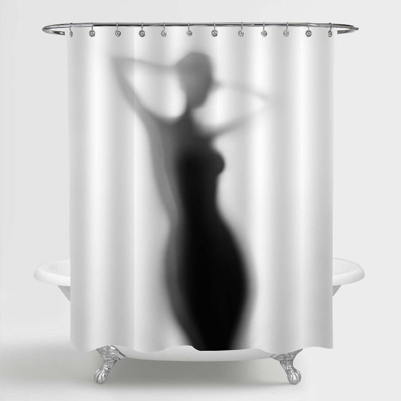 Naked Lady Silhouette Shower Curtain - Grey