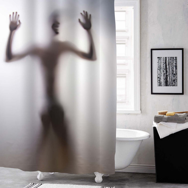 Male Silhouette Laugh with Hands up Shower Curtain - Grey