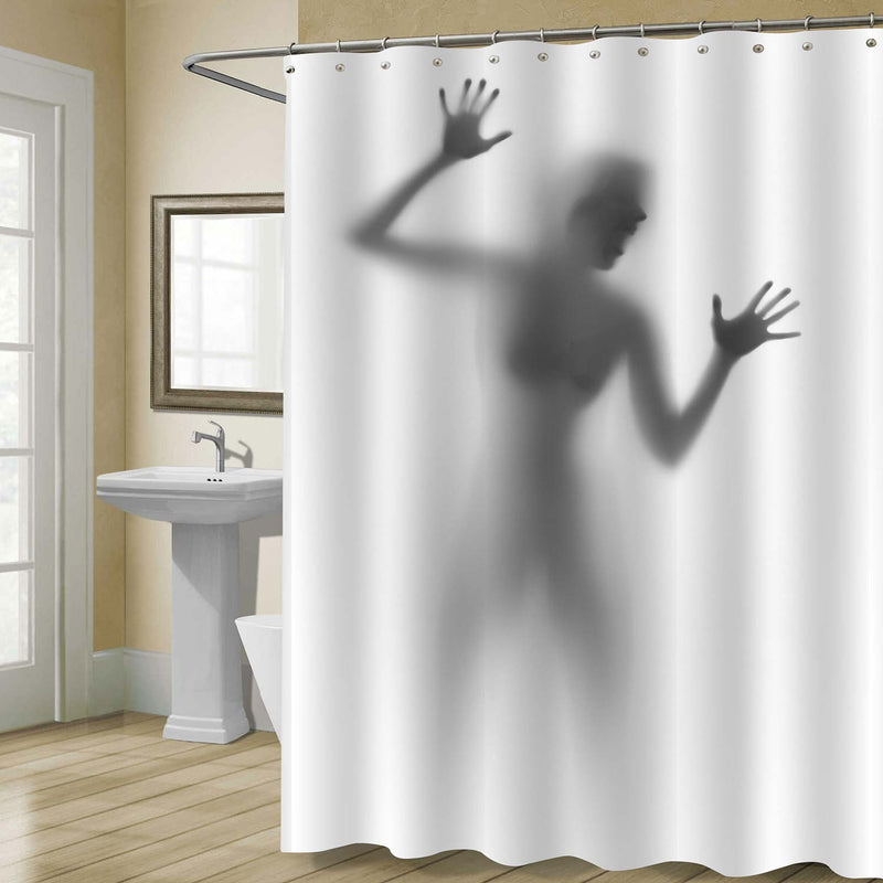 Imprisoned Lady Scream Shadow Spooky Shower Curtain - Grey