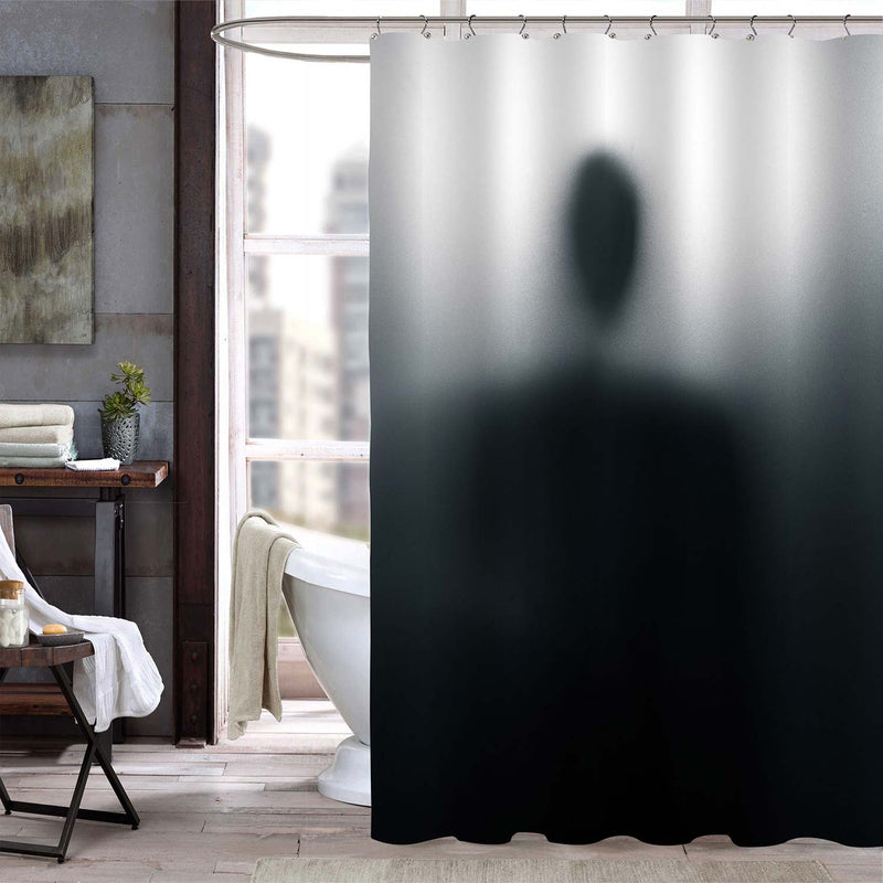 Abstract Alien Background Mystic Person Shadow Shower Curtain - Black