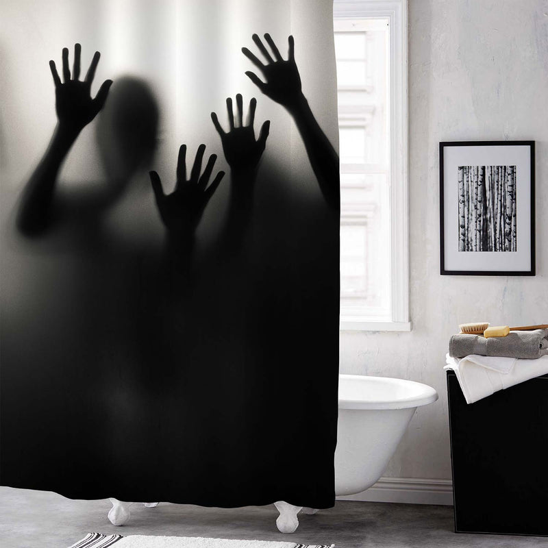Blurry Shadow People Spooky Scene Shower Curtain - Black