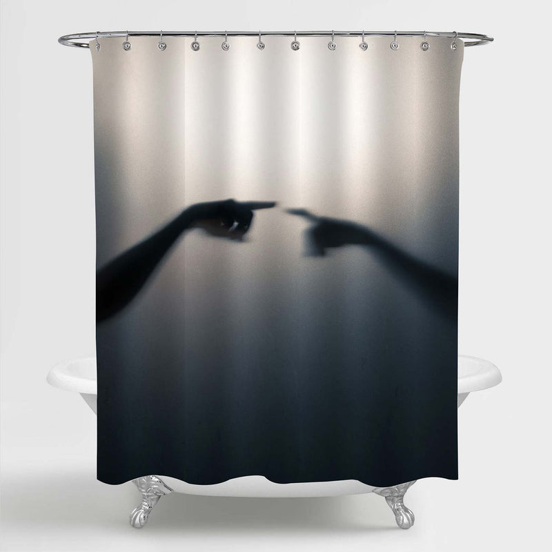 Shadow Blur of Alien Greeting Shower Curtain - Black