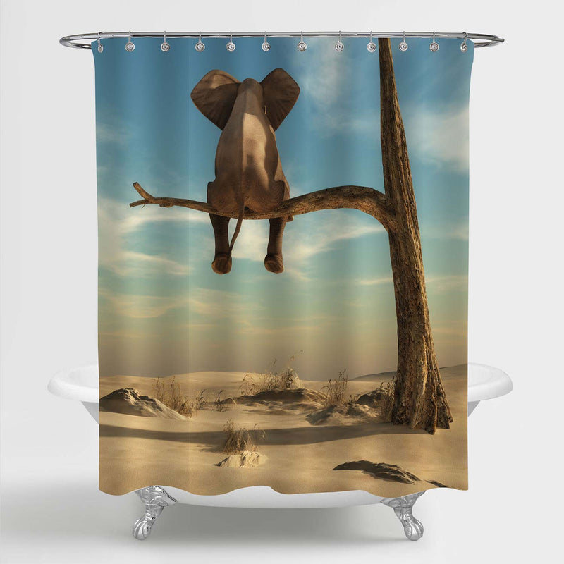 Elephant Stands on Thin Branch of Withered Tree Shower Curtain - Sand