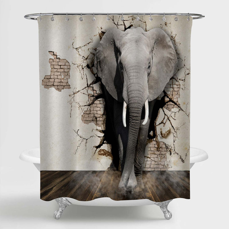 Elephant Coming Out of the Brick Walls 3D Shower Curtain - Grey