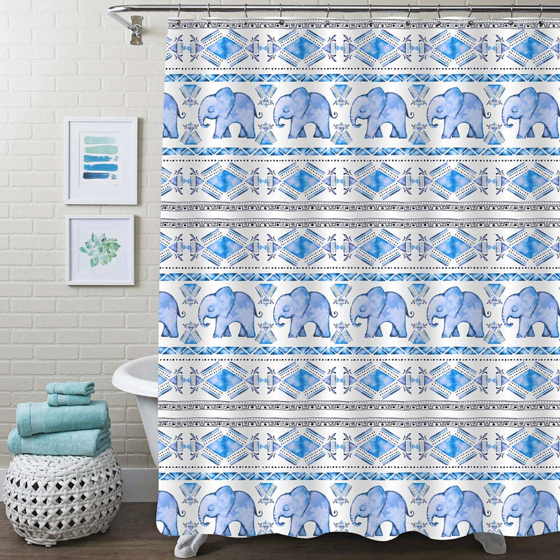 Vintage Indian Elephant with Geometrical Triangle Background Shower Curtain - Blue