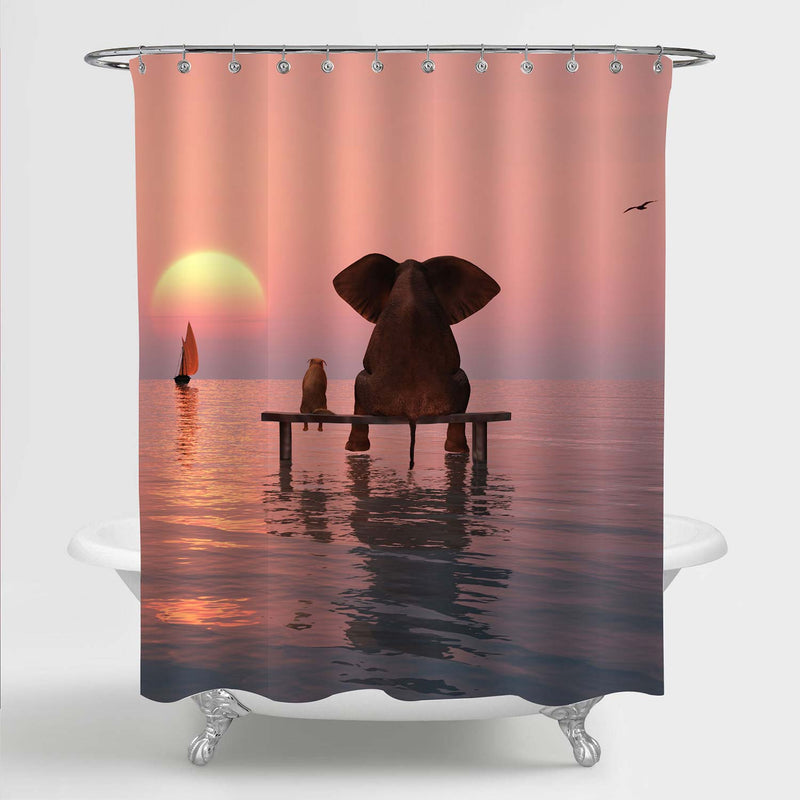 Elephant and Dog Sitting in the Middle of the Sea Watching Sunset Shower Curtain - Pink