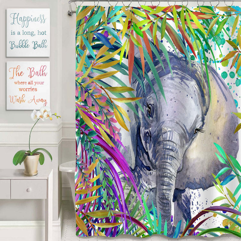 African Elephant in the Tropical Exotic Forest Shower Curtain - Multicolor