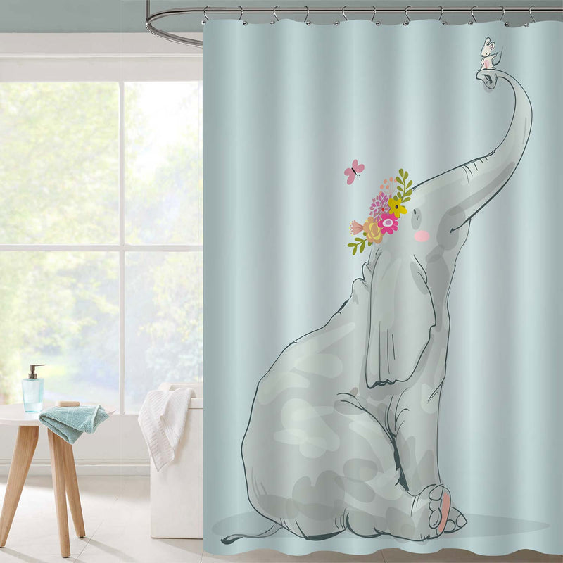 Cute Cartoon Elephant with Little White Mouse Shower Curtain, Kid's Bathroom Decorations Sets in Green Artwork, 50 x 78 inches