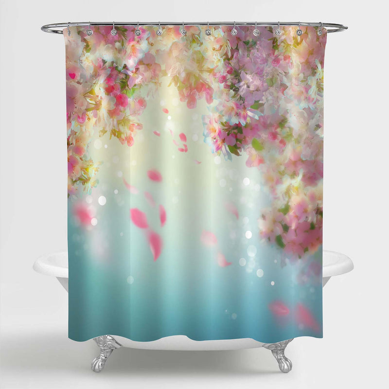 Cherry Floral Petals Flying Downwind on Wind Shower Curtain - Pink Blue