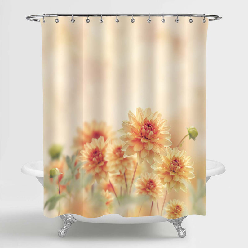 Dahlia Flowers Bloom in the Garden Shower Curtain - Yellow