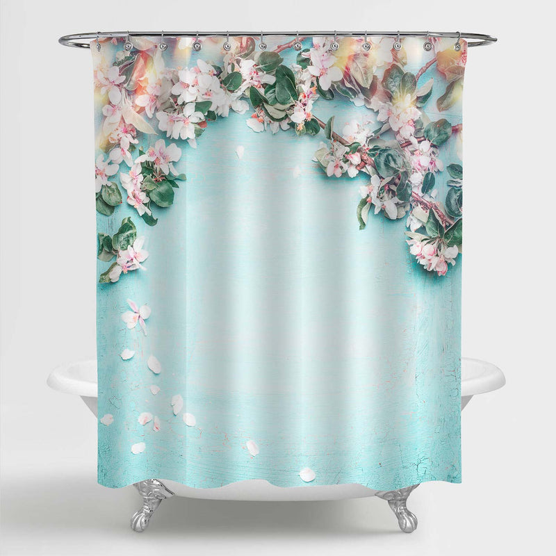 Beautiful Spring Floral Art Deco for Bathroom, Lovely Blossom, Petal and Bokeh on Turquoise Blue Nature Background Shower Curtain, Novelty Gifts for Women, 72 x 72 inches