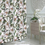 Watercolor Wild Rose Flowers Shower Curtain - Pink Green