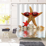 Sea Star with Glasses and Tropical Sea Shells Over the Waves Shower Curtain - Yellow