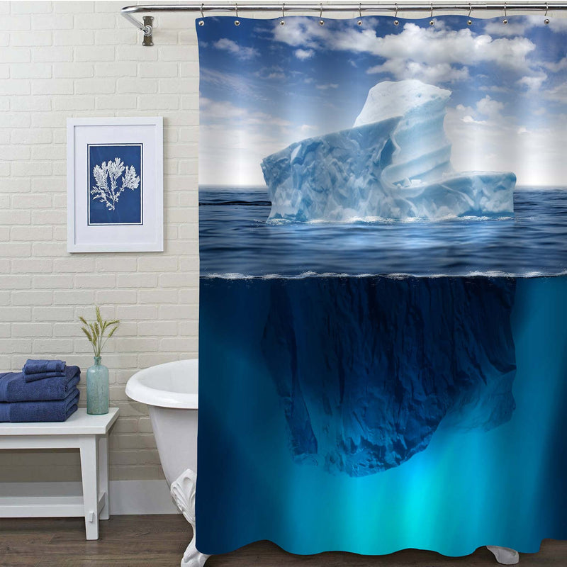 Iceberg Floating in the Ocean Shower Curtain - Blue
