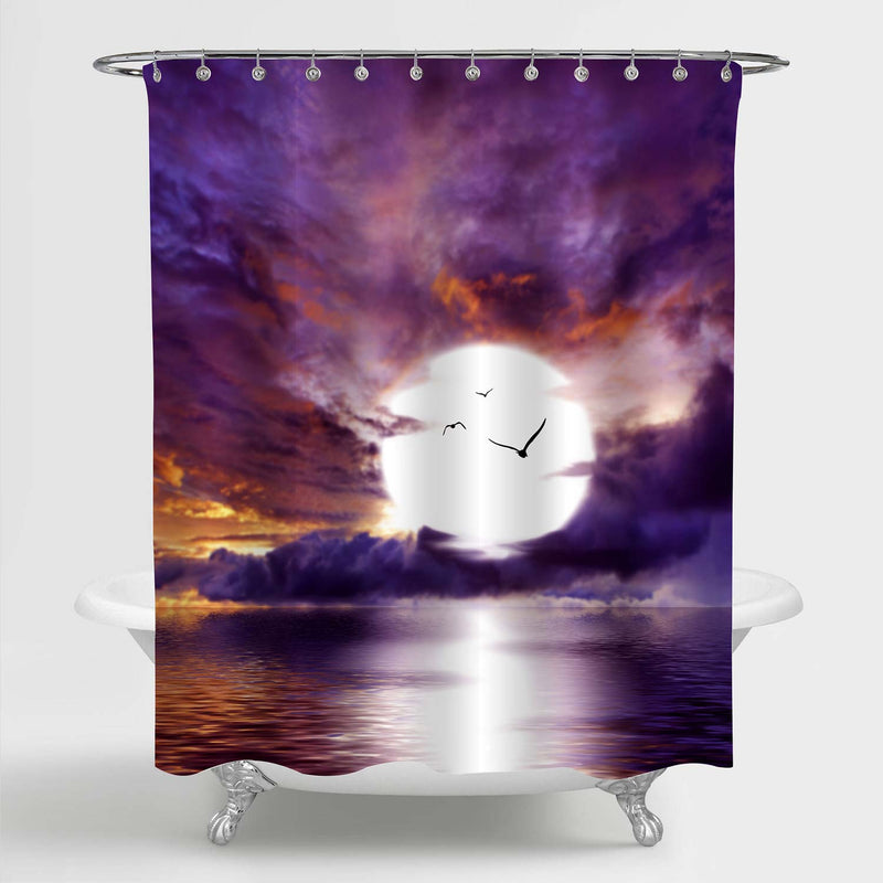 Beautiful Sky with Cloud and Bright Full Moon Over Ocean Shower Curtain - Purple