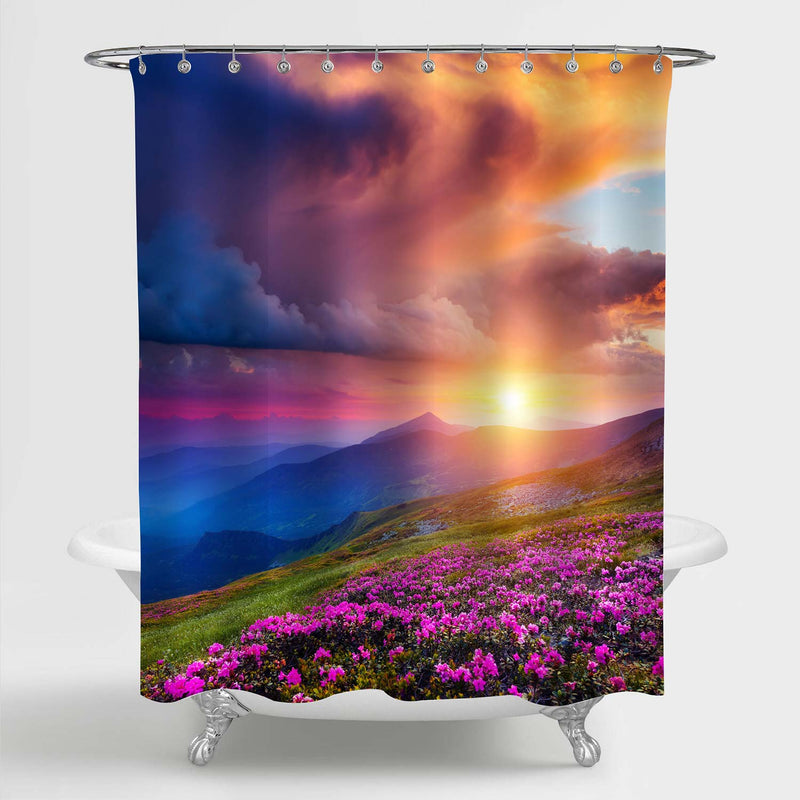 Magic Rhododendron Flowers on Summer Carpathian Mountain Shower Curtain - Multicolor