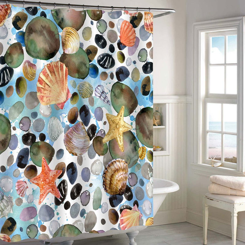 Watercolor Seashells and Sea Stones Shower Curtain - Multicolor