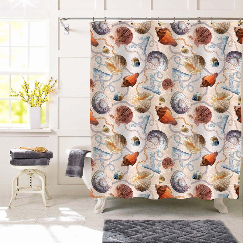 Summer Ocean Sea Shells and Nautical Chains Shower Curtain - Multicolor