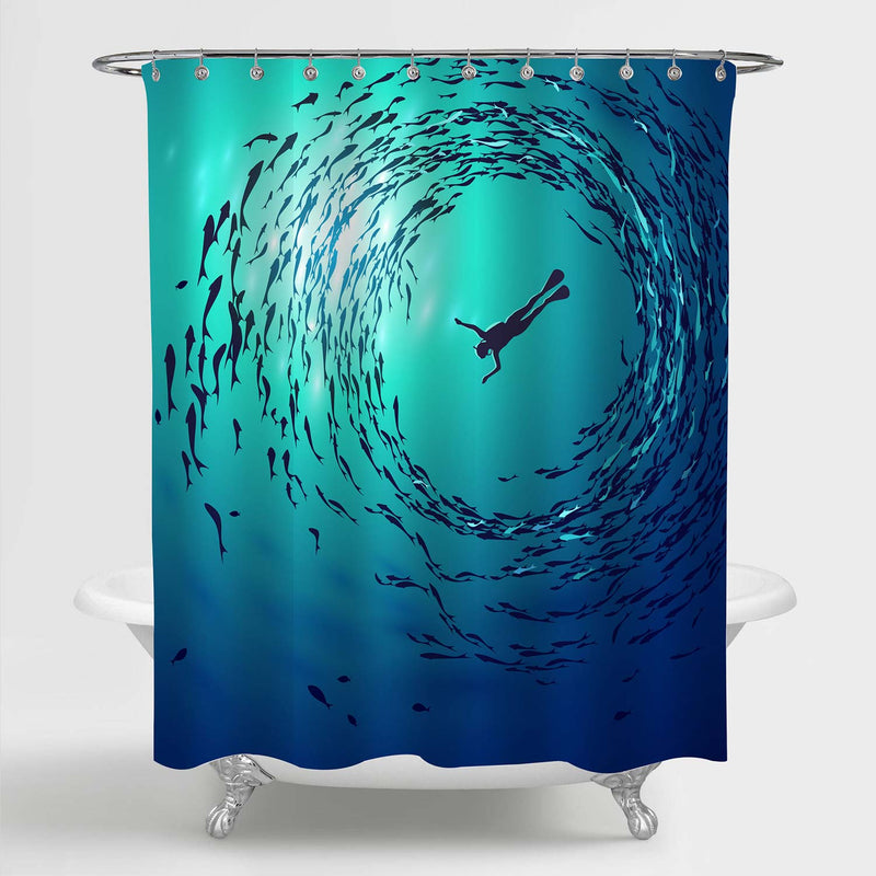 Diver is Surrounded Shoals of Fish Underwater Shower Curtain - Blue