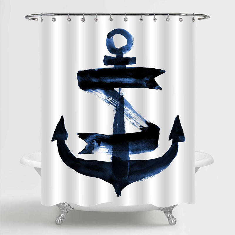 Watercolor Bold Brushstroke Nautical Anchor Shower Curtain - Navy Blue