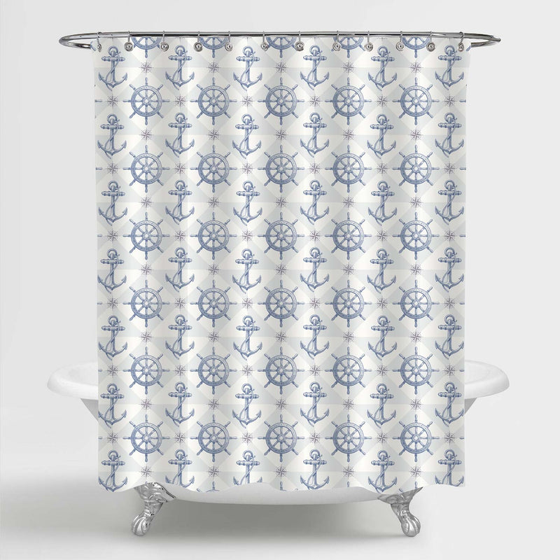 Ship Steering Wheel and Anchor Shower Curtain - Light Blue