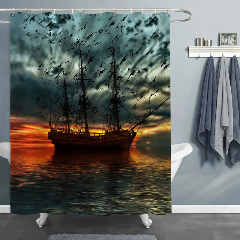 Ancient Sailboat Against Background of Sea Sunset and Flying Seagulls Shower Curtain - Dark Grey Red
