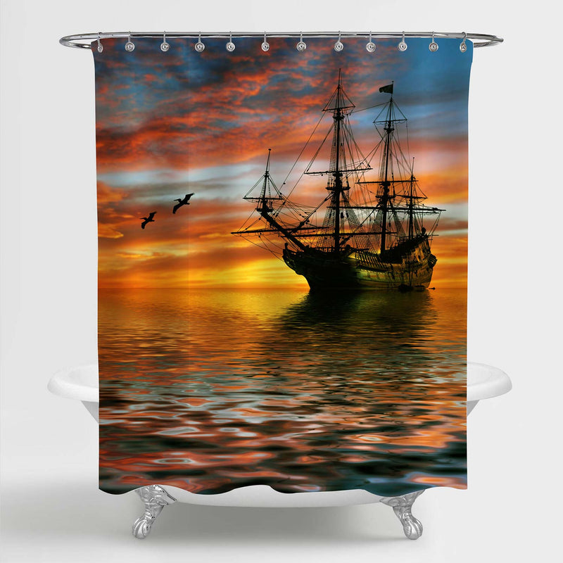 Ancient Sailboat Sailing in Ocean Shower Curtain - Gold