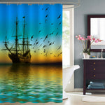 Sailboat and Seagulls Flying on the Sea Shower Curtain - Blue Green Gold